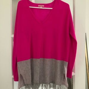 Pink/Grey Lilly Pulitzer Cashmere Fringe Sweater